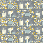 Sheep on a farm - yellow and grey