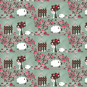 Sheep on a farm - pink and brown