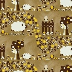 Sheep on a farm - yellow and brown