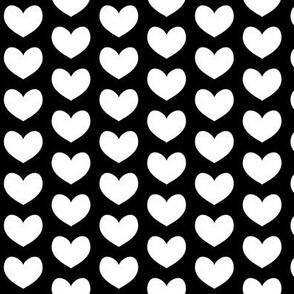 white heart on black