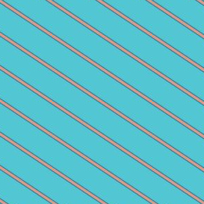 Turquoise and Tangerine Wide Stripe