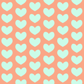 mint heart on peach