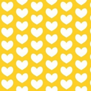 white heart on yellow