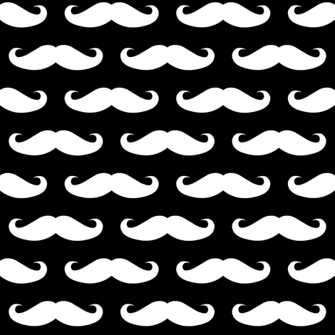 white mustache on black