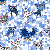 Geometric Blue Cats