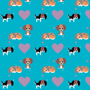 Beagles on Aqua