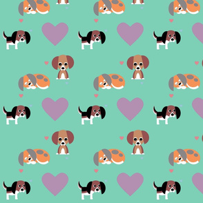 Beagles and Hearts on Green