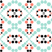 Coral, Mint, White and Black