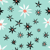 Coral and Mint Daisies