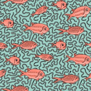 Fishes on Mint Coral