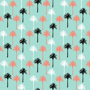 Palm Trees in Mint, Coral, Black & White