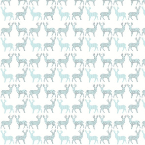 Baby Blue and Gray Meadow Deer on White