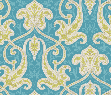 Indienne in Citron and Aqua