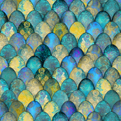 Turquoise and gold brocade by Su_G