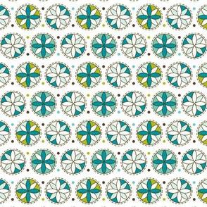 Cartwheel Retro Floral Geometric Blue