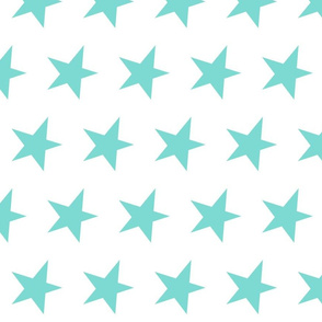 teal star - candy green