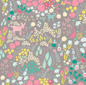 Spring Floral with fawn, bunny and flowers