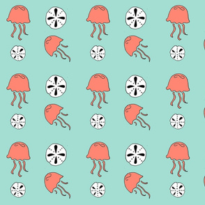 jellyfish (mint-coral b/w)