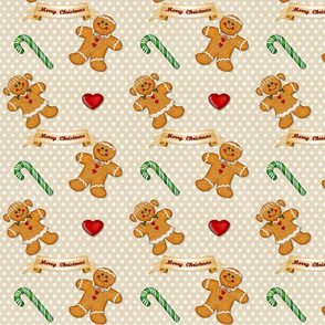 Gingerbread Couple Polka Dots Beige