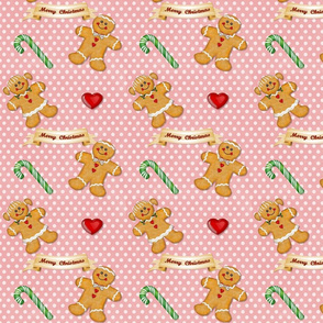 Gingerbread Couple Polka Dots Pink