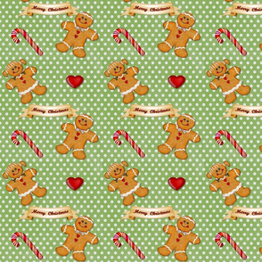 Gingerbread Couple Polka Dots Green