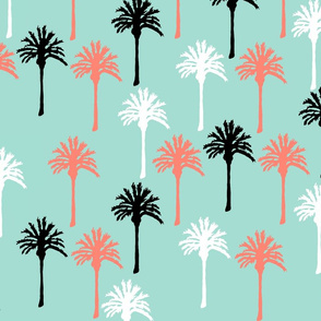 Larger Palm Trees in Black, White & Coral