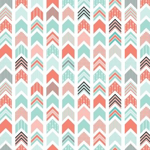 Chevron Arrow Pointer - Coral, Blue, Black