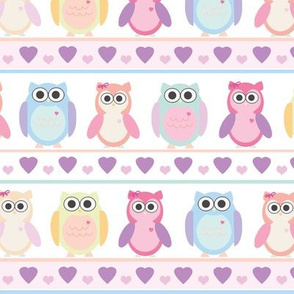 Cute Owls Line Up Large Scale