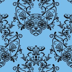 Sugar Skull Sphynx Cat Damask Blue