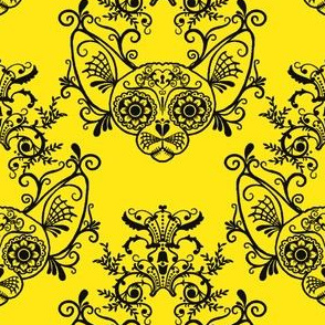 Sugar Skull Sphynx Cat Damask Yellow