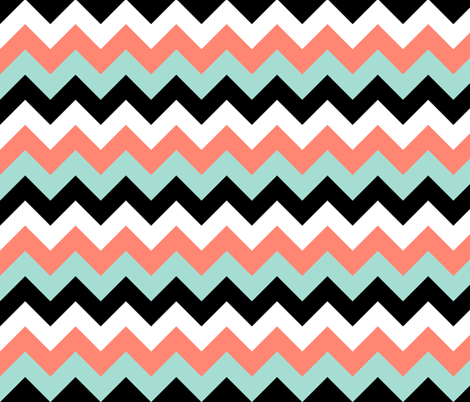 Mint And Coral Chevron Background Chevron in Coral, Mint...