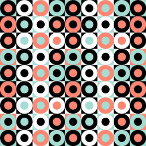 Pop Art Donuts in Coral, Mint, Black and White