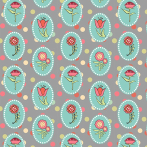 Flowers in Ovals on Gray with Polka Dots