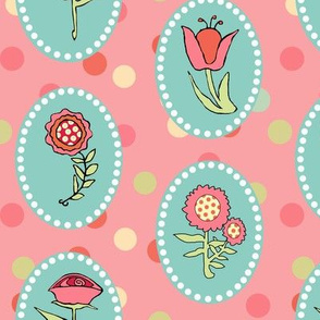 Flowers in Ovals on Pink