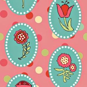 Flowers in Ovals on Darker Pink