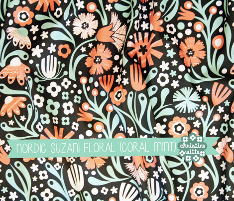Nordic Suzani Floral (Coral Mint)