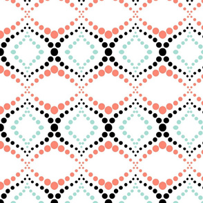 Moroccan Tiles with Coral and Mint