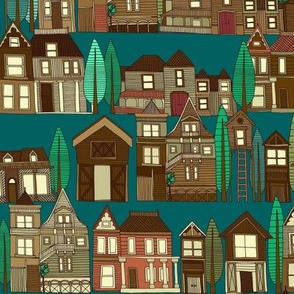 wooden buildings teal