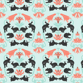 damask with mint stripe background