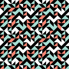 Aztec Triangles in Mint, Coral, Black and White