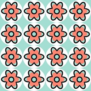 retro flowers coral-mint-black-white
