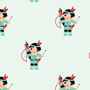 Adorable colorful indians arrows and feathers boy illustration pattern super hero theme
