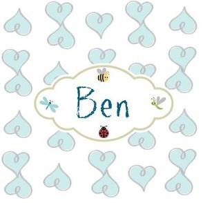 Doodle Hearts Blue-Personalized -Ben