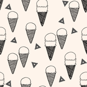 Ice Cream Cones - Champagne/Charcoal (Small) by Andrea Lauren