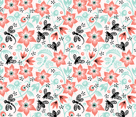 Dragonfly Bee Floral - Coral Mint
