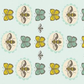 Bees and Butterflies Tea Towel