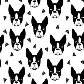 boston terriers // black and white dog fabric cute dogs
