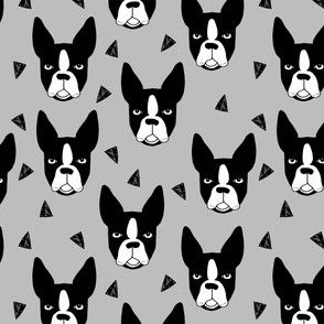boston terrier// grey smaller version boston terriers dog breed fabric
