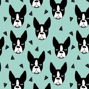 Boston Terrier - Pale Turquoise (Smaller Version) by Andrea Lauren
