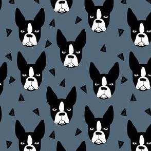 boston terrier // boston terriers dog blue grey pet pets dog breed fabric